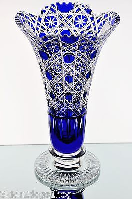 Bleikristall German Cobalt Blue Heavily Cut to Clear Crystal Cased Sawtooth Vase