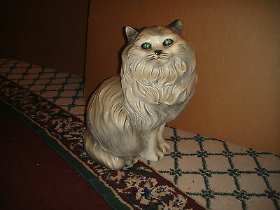 Vintage Persian Cat Plaster Chalkware Sculpture-Lifesize-Lifelike Cat-LQQK
