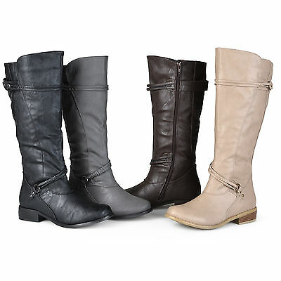 064331956 Journee Collection Womens Wide and Extra Wide Calf Ankle Strap Knee High  Boots