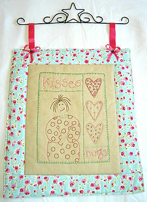 hand  wall hanging embroidered girl pink aqua hanger beaded patchwork fabric