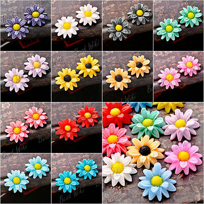 Resin Sun Flower Vintage Flatback Cabochon Wholesale Lots 23x22x7mm RB0767