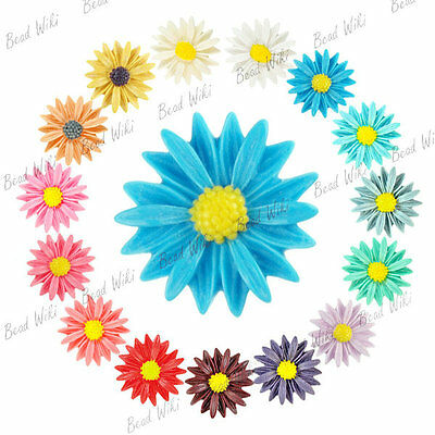 Resin Flower Sunflower Cabochon Vintage Flatback Wholesale Lots 27x27 V-RB0555