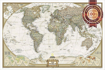 New Large Detailed Political Map Of The World Home Wall Art Print Premium Poster