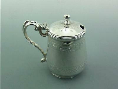 Very Good Victorian English Solid Sterling Silver Mustard Pot