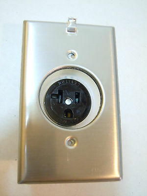 Leviton 5361-CH Clock Outlet Picture Art Stainless Receptacle Nema 5-20R 20 Amp