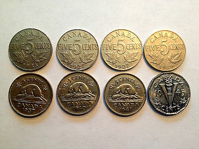 Lot Of 8 Old Canada Nickels High Grade 1927-1945 Beautiful Collection