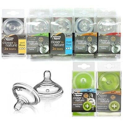Tommee Tippee Bottle Teats Closer To Nature Anti-Colic 2pcs Genuine 0m+ 3m+ 6m+