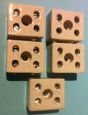 5 X 2WAY 2Pole Insulating Porcelain Terminal Block Connector 15A HEATPROOF 15AMP
