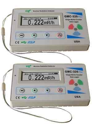 Two GQ GMC-320-Plus Geiger Counter Nuclear Radiation Detector Beta Gamma Xray