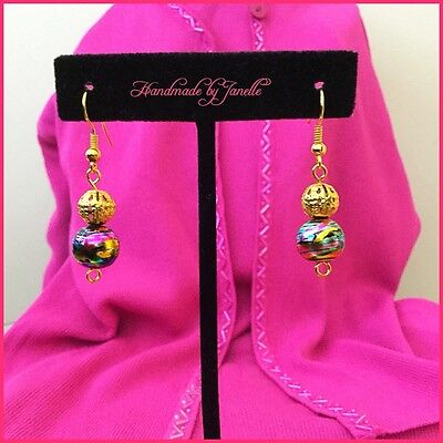 Multi Coloured Ball Bead Drop Earrings - Glass & Gold Plated Handmade