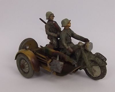 Pre-War Elastolin WH 591 Motorcycle & Machine Gun Sidecar