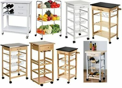 Movable Kitchen Storage Trolley Fruit Vegetable Cart With Drawer / Basket / Rack