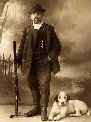 Italian Spinone Lovely Dog Print Greetings Note Card Man With Gun And Dog
