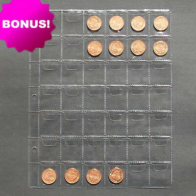 "5pcs Album Pages 42 Pockets Money Coin Note Currency Holder Collection 9.8""x7.8"""