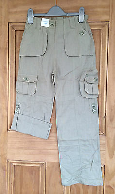 Adams New Olive Green Roll Up Linen Combat Cargo Trousers Uk Size 7 - 10 Years