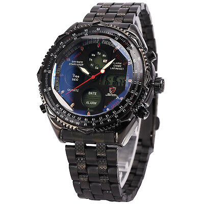 Shark Luxury Mens LCD Digital Date Day Stainless Steel Quartz Wrist Sport Watch