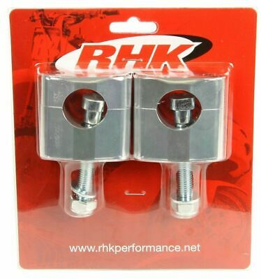 RHK HANDLEBAR MOUNTS/CLAMPS FOR OVERSIZE PRO TAPER FAT BAR - SILVER 10mm BOLT
