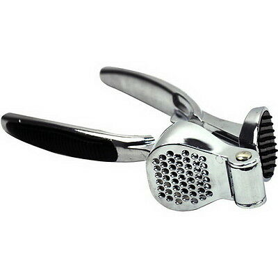 Premium Stainless Chrome Garlic Press Crusher Easy Clean Grip Handle Washer Safe