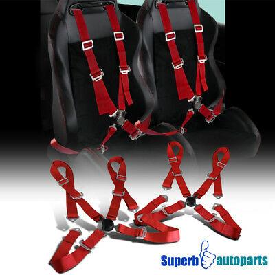 2 x Red 4 Point Camlock JDM Racing Seat Belt Safety Harness