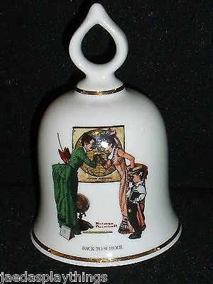 "Danbury Mint Norman Rockwell BACK TO SCHOOL Bell 5"" Tall 1979 FREE US Shipping"