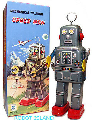 Windup Tin Toy Robot Mechanical Spaceman with Antenna NEW!