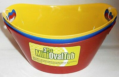 Mini Oval Tubs 3 Pcs Assorted bright Colors  Red,Blue Yellow