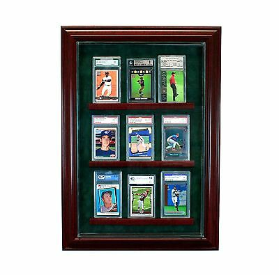 9 Graded Baseball Card Cabinet Style Display Case  Hinged Door Glass Suede MLB