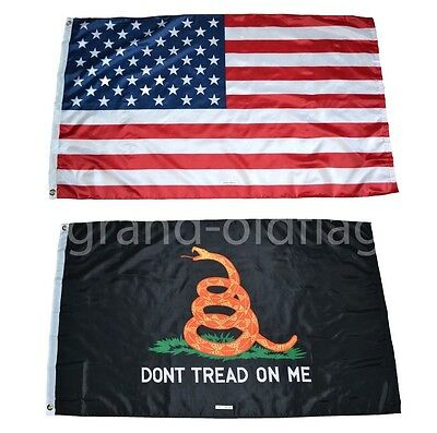 LOT 3' X 5' U.S. AMERICAN & US BLACK GADSDEN DONT TREAD ON ME TEA PARTY FLAG 3X5