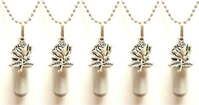 Set of FIVE Brushed Silver ROSE CREMATION URN Necklaces w/Pouches & Fill Kit