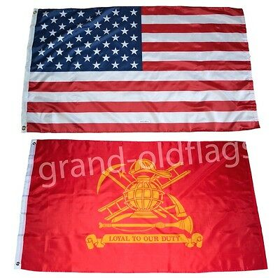 LOT 3' X 5' U.S.  AMERICAN & US FIRE FIGHTER LOYAL TO OUR DUTY FLAG 3X5
