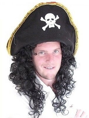 """Pirate Wig"", Men's Long Black Curly Fancy Dress Wig (Hat not included)"