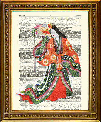 JAPANESE GEISHA GIRL PRINTS: Red / Blue Dress, Antique Asian Dictionary Art!
