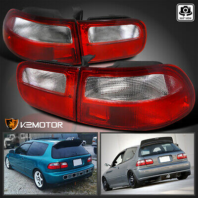 For 92-95 Honda Civic Hatchback 3Dr Brake Lamps Red/Clear Tail Lights Left+Right