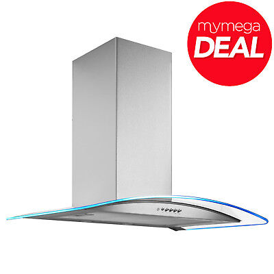 MyAppliances REF28315 70cm LED Curved Glass Cooker Hood Extractor in S/steel