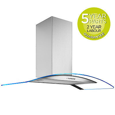 MyAppliances REF28316 90cm LED Curved Glass Cooker Hood Extractor in S/steel
