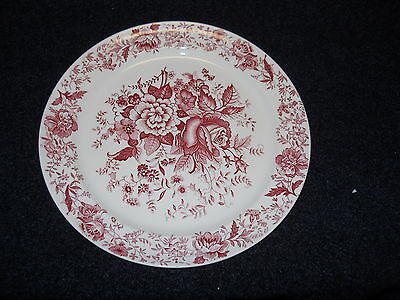 Taylor Smith Taylor Red  Transfer TST610 Dinner Plate Center Bouquet