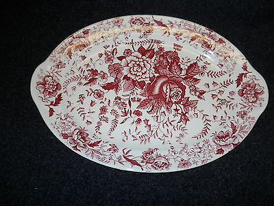 """Taylor Smith Taylor Red  Transfer TST610 Platter 11 3/4""""  Center Bouquet"""