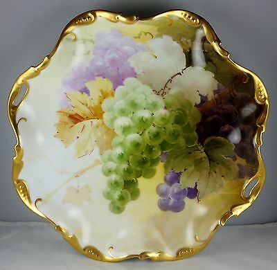 Limoges Ruffled Handled Platter - Grapes & Leaves with Heavy Gold Trim - Super