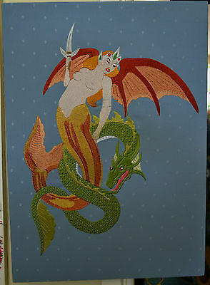 Embroidered Art, Winged Mermaid with Sea Serpent, Mounted Ready To Hang