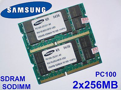 512MB 2x256MB PC100 SDRAM CL2 SODIMM 144pin 100MHz NOTEBOOK LAPTOP RAM SPEICHER