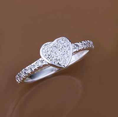 Stunning 925 Sterling Silver Classic Crystal Cubic Zirconia Heart Love Ring