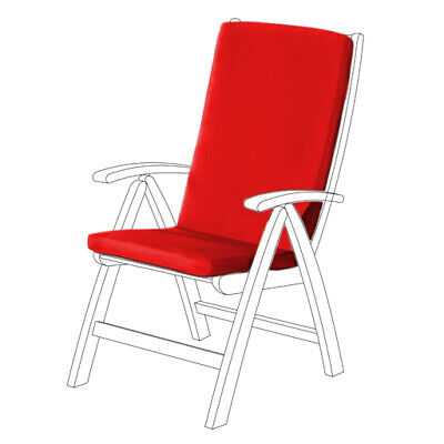Red Water Resistant Highback Garden Dining Chair Back & Seat Cushion Pad ONLY