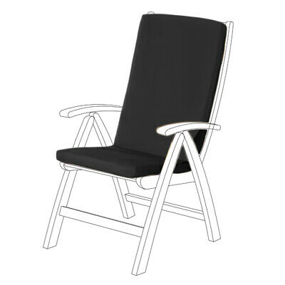 Black Water Resistant Highback Garden Dining Chair Back & Seat Cushion Pad ONLY