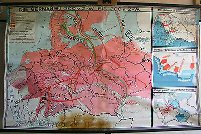 Schulwandkarte map Deutschland Germany Germanen 300v-200n Christi 1Mio 188x116