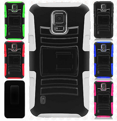 purchase cheap 89989 6cc77 SAMSUNG GALAXY S5 Active G870 Combo Holster Hard HYBRID KICK STAND Rubber  Case