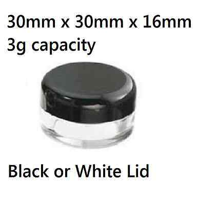 100 x 3g Small Cosmetic Sample Craft Plastic Container Jar Pot black / white lid