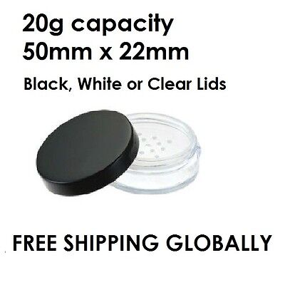 24 x 20g Small Cosmetic Sample Powder Plastic Container black/white/clear lid