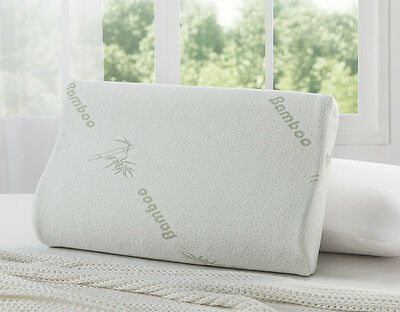 2 x Pack Premium Bamboo Contour Pillow Memory Foam Fabric Fibre Cover 50 x 30cm