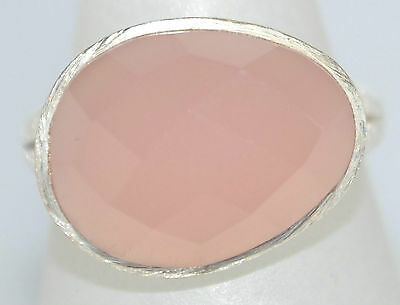 925 Sterling SILVER Rings Pink Chalcedony Faceted Gemstone Ring Sizes 5½ L to 12