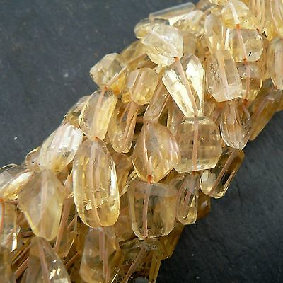 "Citrine Step Cut Faceted Nuggets 11""  Strand Gemstone Beads"